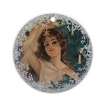 Vintage Victorian Christmas Lady Round Ornament