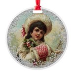 Vintage Victorian Girl with Red Muff Ornament