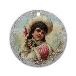 Vintage Victorian Girl with Red Muff Round Ornamen
