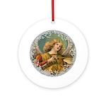 Vintage Victorian Golden Angel Round Ornament