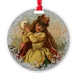 Vintage Victorian Christmas Girl with Snowball Orn
