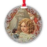 Vintage Victorian Christmas Girl with Doll Ornamen