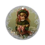 Vintage Victorian Christmas Girl Round Ornament