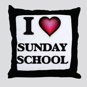 I love Sunday School Throw Pillow