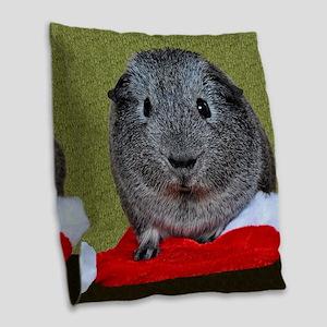 Guinea Pig Christmas Burlap Throw Pillow