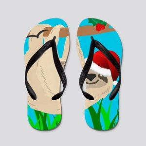 santa sloth Flip Flops