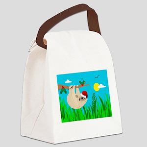 santa sloth Canvas Lunch Bag