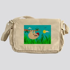 santa sloth Messenger Bag