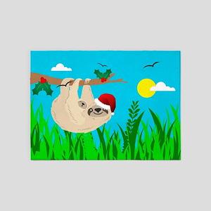 santa sloth 5'x7'Area Rug
