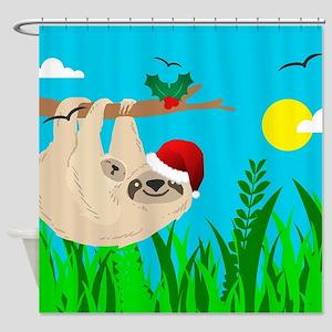 santa sloth Shower Curtain