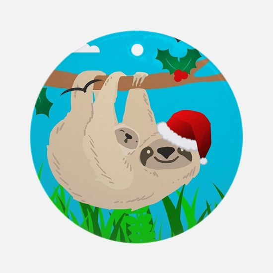 santa sloth Round Ornament