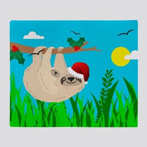 santa sloth Throw Blanket