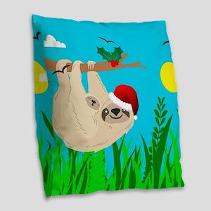 santa sloth Burlap Throw Pillow