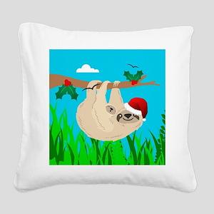 santa sloth Square Canvas Pillow