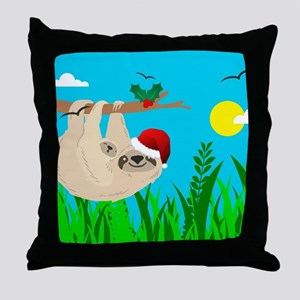 santa sloth Throw Pillow