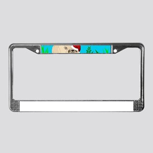 santa sloth License Plate Frame