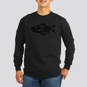 Salmon Native American Design Long Sleeve T-Shirt