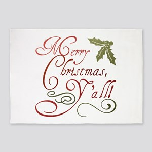 Merry Christmas, Y'all! 5'x7'Area Rug