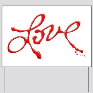 Love - Red Abstract Yard Sign