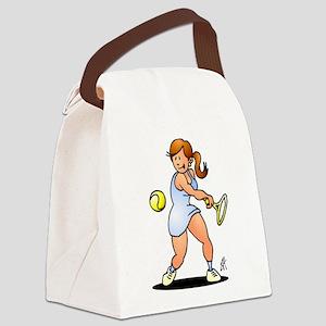 Tennis girl hitting a backhand Canvas Lunch Bag