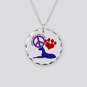 P,L, GREAT DANES Necklace Circle Charm