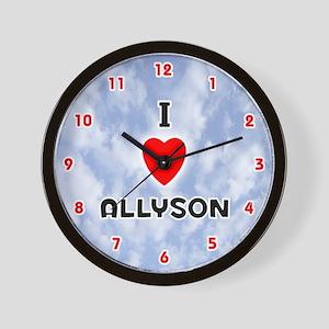 I Love Allyson (Red/Blk) Valentine Wall Clock