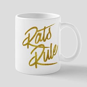 Rats Rule Gold Faux Foil Metallic Glitter Quo Mugs