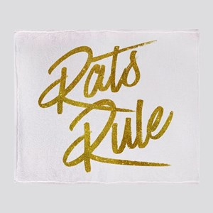 Rats Rule Gold Faux Foil Metallic Gl Throw Blanket