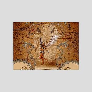 Beautiful angel in the wood 5'x7'Area Rug