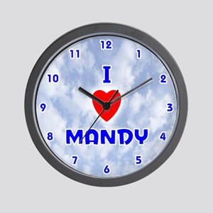 I Love Mandy (Blue) Valentine Wall Clock