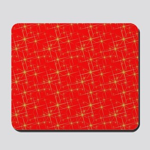 Red with gold starbursts Mousepad