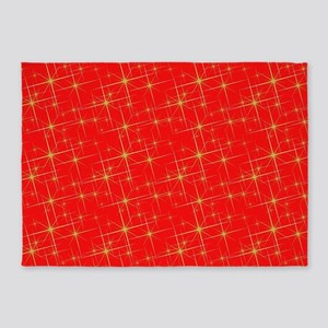 Red with gold starbursts 5'x7'Area Rug