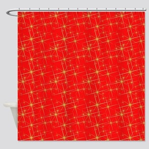 Red with gold starbursts Shower Curtain