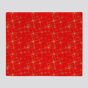 Red with gold starbursts Throw Blanket
