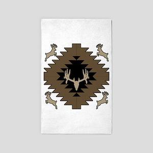 Buck deer American Indian art Area Rug
