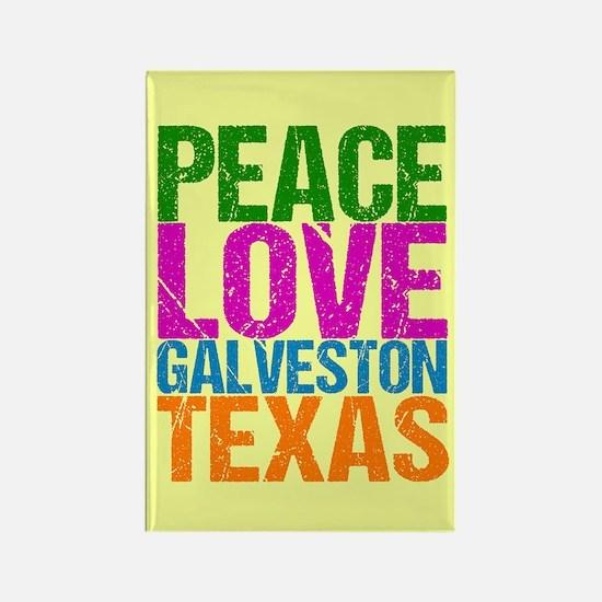 Peace Love Galveston Rectangle Magnet