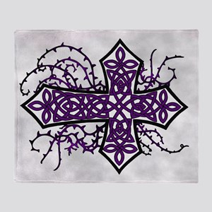Gothic Celtic Cross Purple Throw Blanket