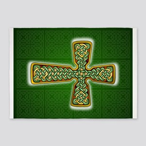 Teardrop Celtic Cross Green 5'x7'Area Rug