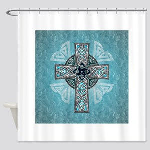 Traditional Celtic Cross Turquoise Shower Curtain
