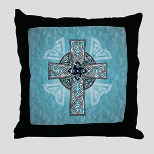 Traditional Celtic Cross Turquoise Throw Pillow