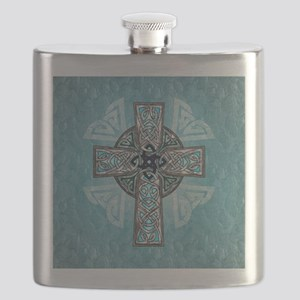 Traditional Celtic Cross Turquoise Flask