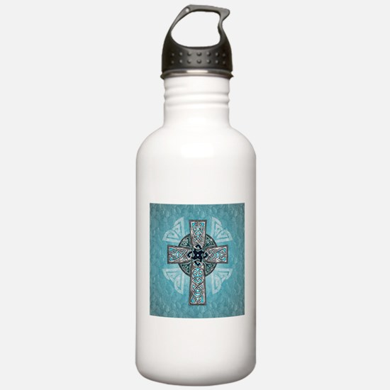 Traditional Celtic Cross Turquoise Water Bottle