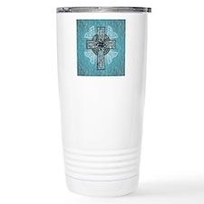 Traditional Celtic Cross Turquoise Travel Mug