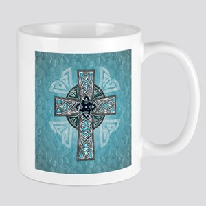 Traditional Celtic Cross Turquoise Mugs