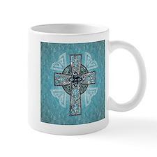 Traditional Celtic Cross Turquoise Mugs