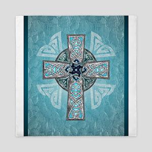 Traditional Celtic Cross Turquoise Queen Duvet