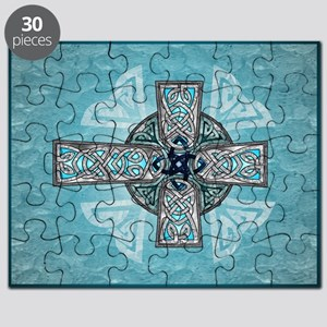 Traditional Celtic Cross Turquoise Puzzle