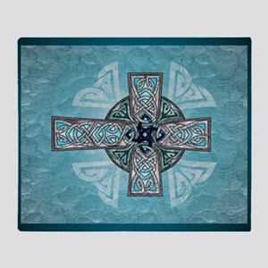 Traditional Celtic Cross Turquoise Throw Blanket