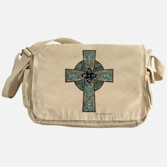 Traditional Celtic Cross Turquoise Messenger Bag