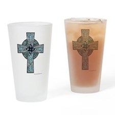 Traditional Celtic Cross Turquoise Drinking Glass